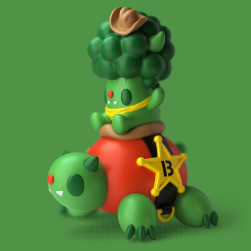 Bevil & Turtly 3D Render by QuailStudio