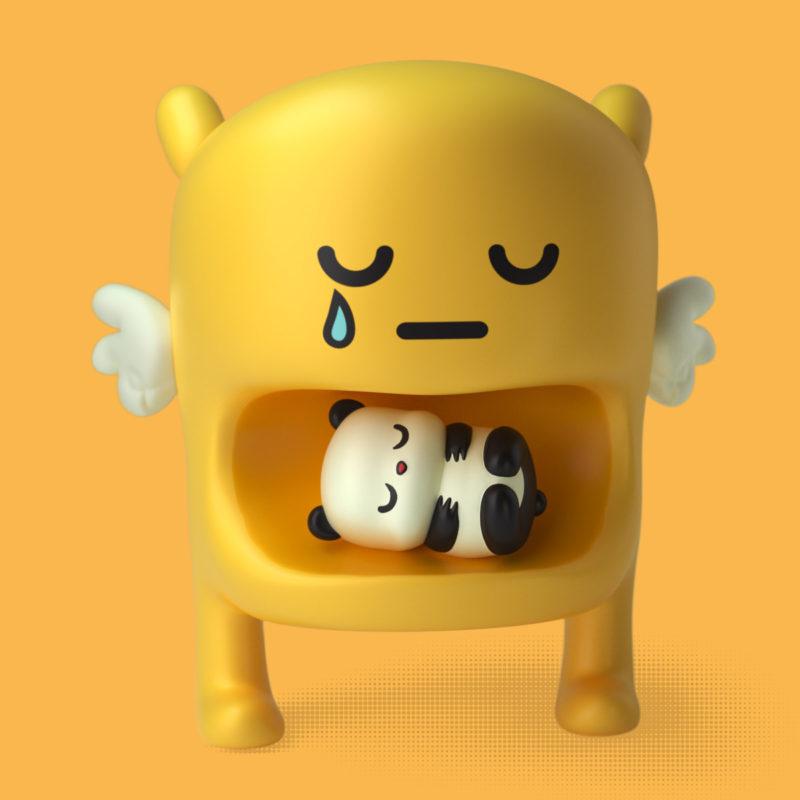 Michi & Panda 3D Render by QuailStudio