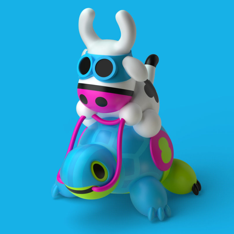 Cowly & Turtly 3D Render by QuailStudio