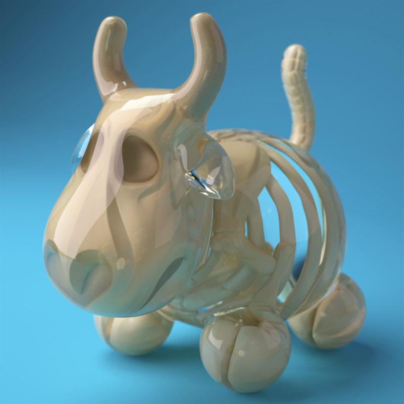 Cowly Skeleton 3D render by QuailStudio