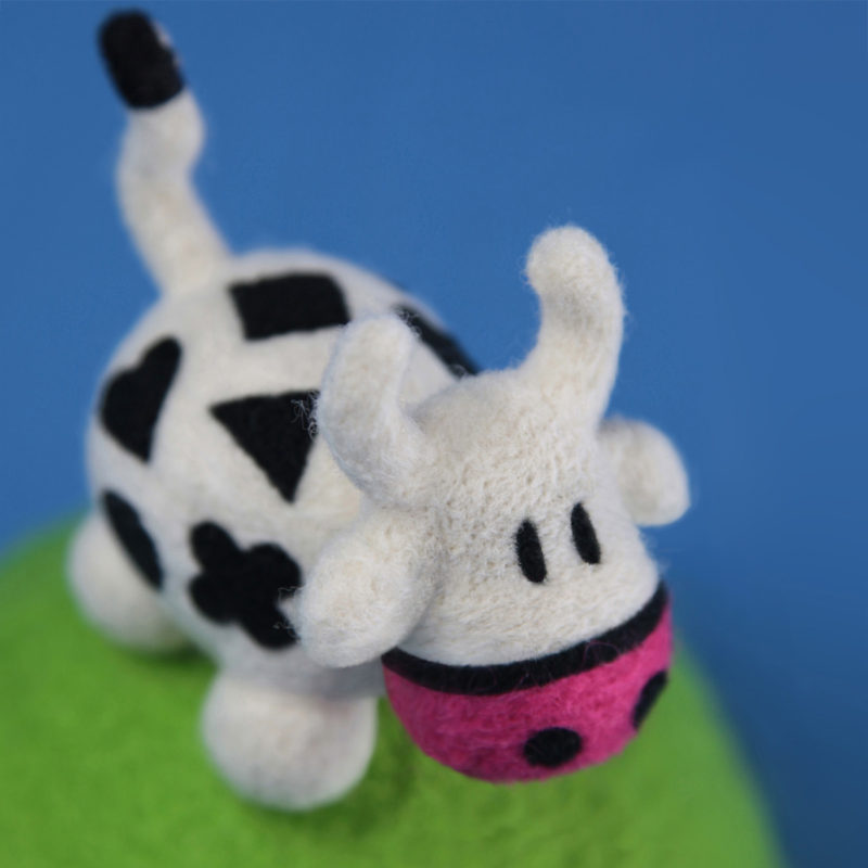 Needle felted Cowly toy by QuailStudio