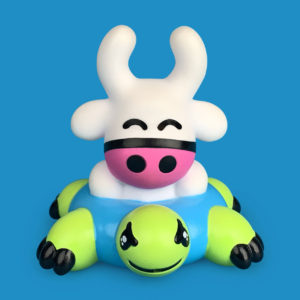 Plastic Bath Toy a small Cow riding an inflatable turtle
