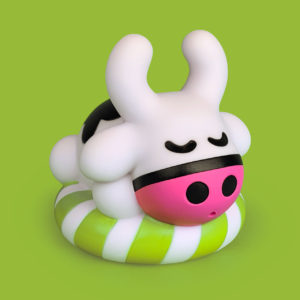 Plastic bath toy a small Cow on a inflatable ring