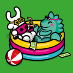 vector illustration of Cowly and the Toyconnosaurus chilling out in a small inflatable pool
